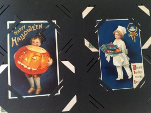 Postcards celebrating Halloween and Thanksgiving