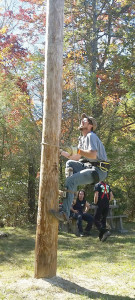 Dabney S. Lancaster Community College forestry student Nathan Burdette of White Sulphur Springs shown competing in the men's pole climb in the John G. Palmer Intercollegiate Woodsman's Team Competition hosted by Haywood Community College at the Pisgah National Forest near Clyde, NC, Oct. 10. Burdette and teammate Dan Ricotta of Charlottesville, who won the event with a time of 7.31 seconds, helped DSLCC bring home the winning team trophy and a new Stihl chain saw. Competitors in this speed event are asked to climb a 32-foot pole and ring a bell at the top. For more information about the DSLCC Forest Management Technology program, contact Joe Thacker at 540-863-2893 or email jthacker@dslcc.edu.