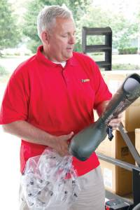 Steve Swart, former CEO/CFO of Robert C. Byrd Clinic in Lewisburg, delivered nearly 200 pairs of rubber boots donated by Rocky Brands to the clinic Wednesday. The company, based out of Nelsonville, OH, is an outdoor apparel company. The boots, which are non-lace durable quality footwear, are valued at about $20,000. Swart coordinated the delivery with Robert C. Byrd Clinic Executive Director Jim Graeca.