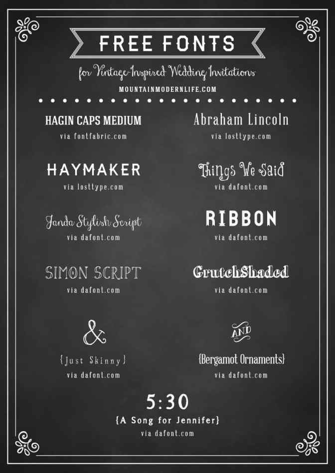 FREE fonts for Rustic Vintage Wedding Invitations | MountainModernLife.com