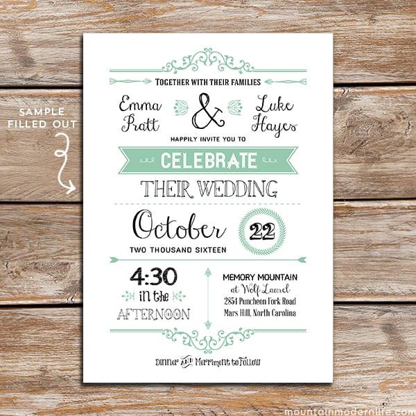 Printable Wedding Invitation Templates: FREE Wedding Invitation Template