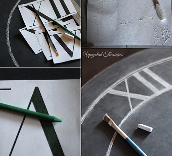 chalkboard transfer on diy clock mountainmodernlife.com