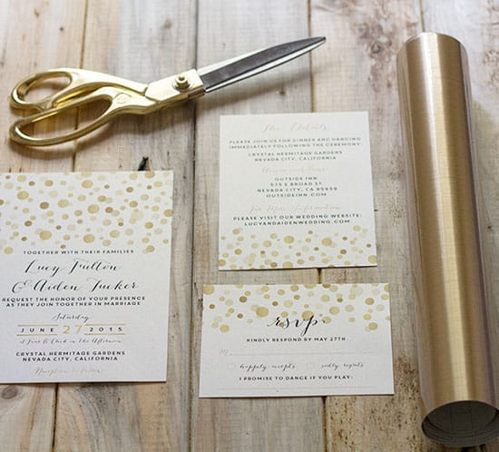 adding gold contact paper to diy wedding invitations mountainmodernlife.com