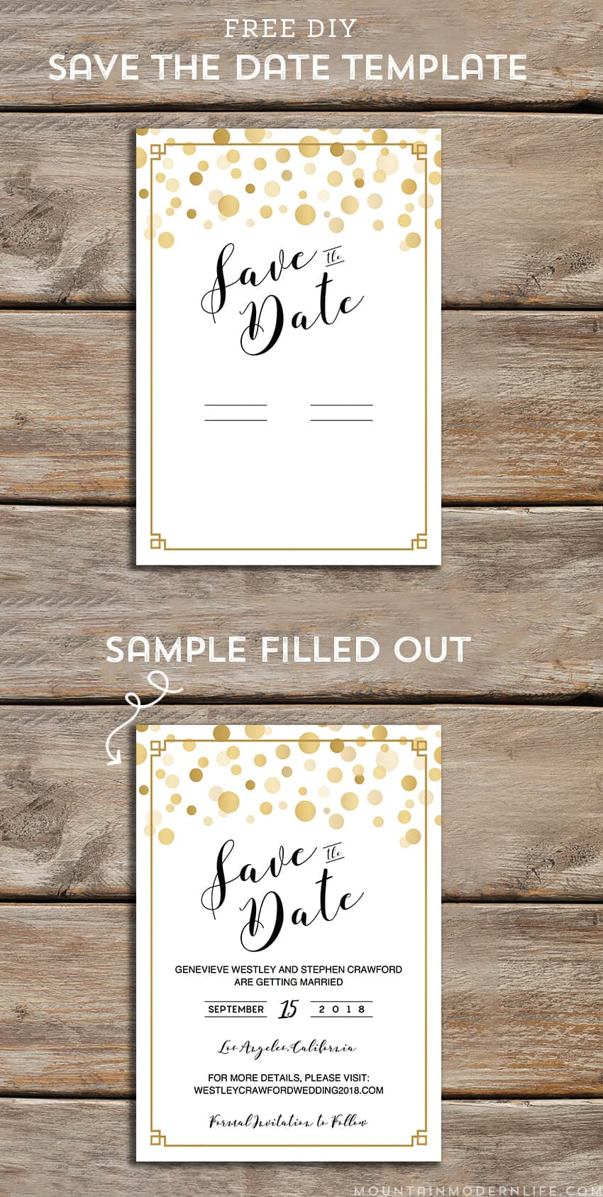 Download and customize this FREE Gold Modern DIY save the date template and then print as many copies as you need! MoutainModernLife.com