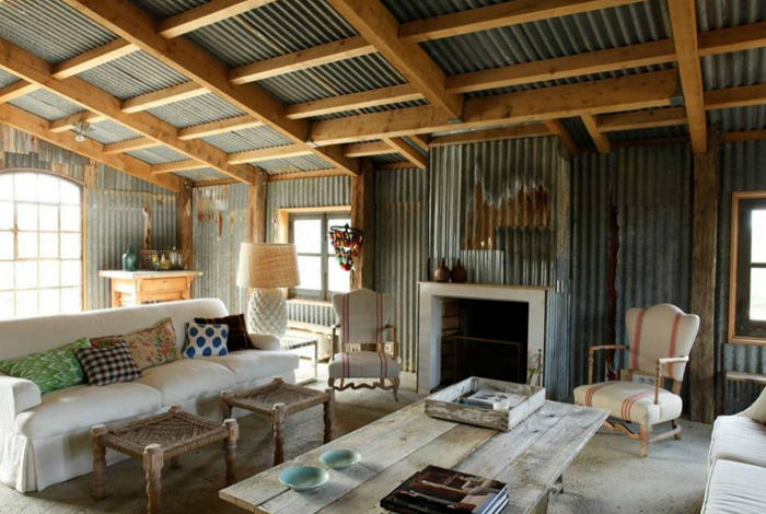 French Farmhouse with Corrugated Metal   One Kind Design