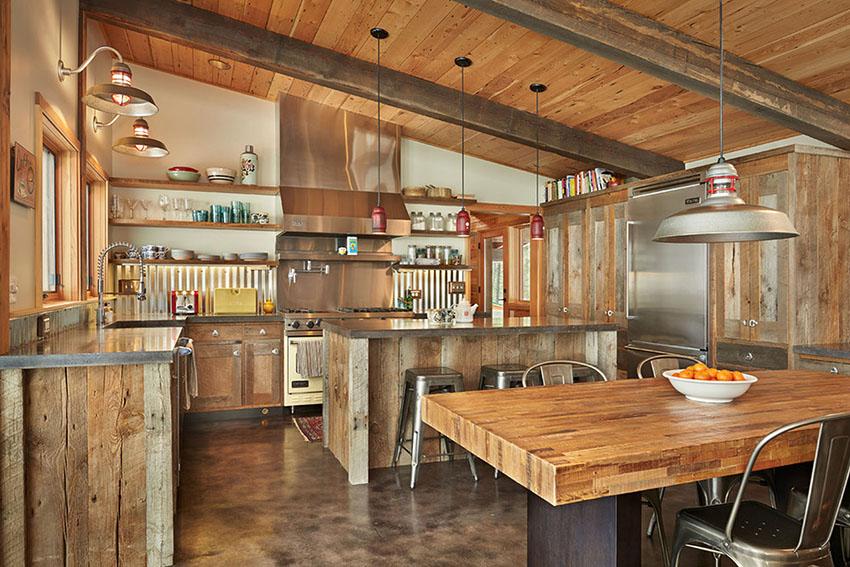 Kitchen with Corrugated Metal Backsplash   Lawrence Architecture