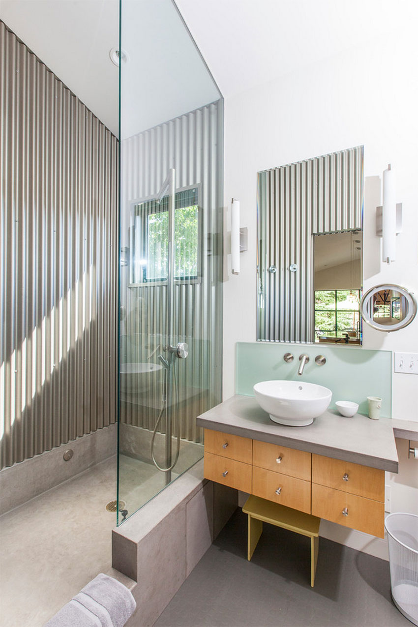 Modern Guesthouse Bathroom with Corrugated Metal   Victor Samuel Photography