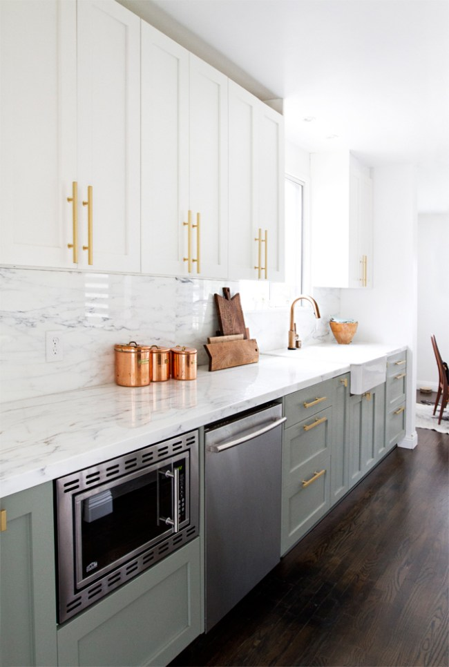 Stunning Kitchen Designs with 2-Toned Cabinets | Modern Kitchen with Brass Drawer Pulls | Sarah Sherman Samuel