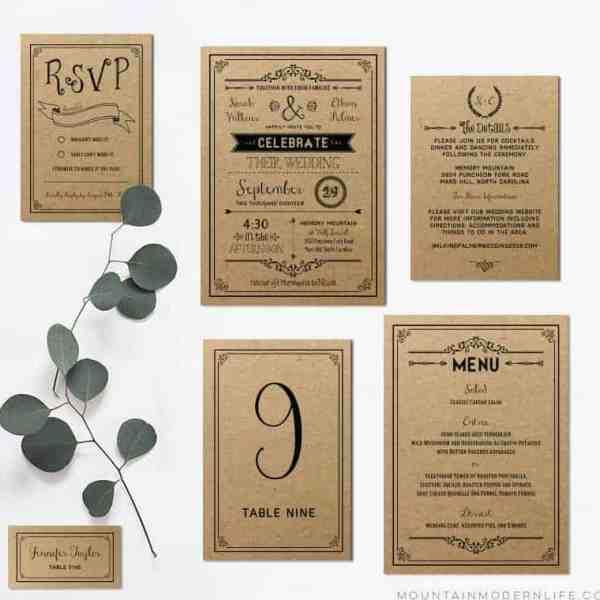 Printable Rustic Invitation Set - Black Printed on Kraft Paper