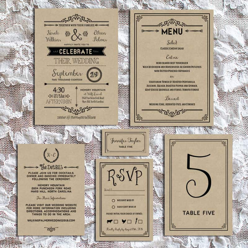 Homemade Country Wedding Invitations