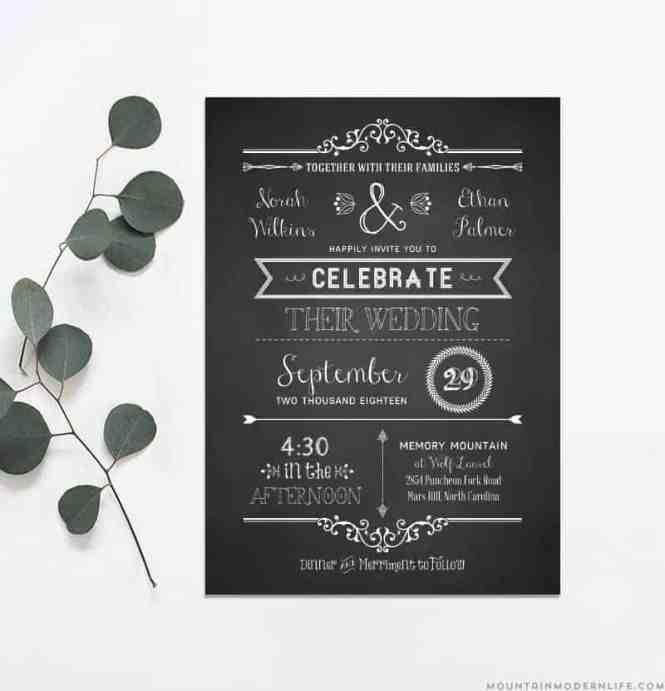 Rustic Diy Wedding Invitation Template