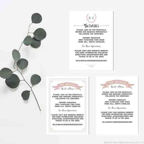 Printable Wedding Details Cards   MountainModernLife.com