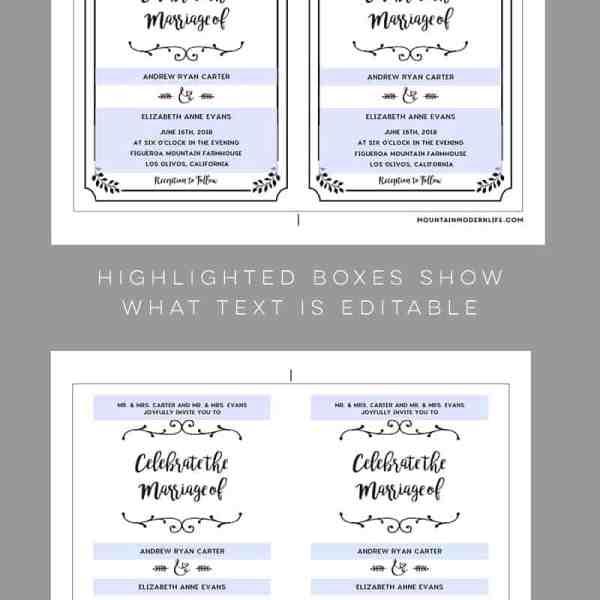 Editable Wedding Template Samples | MountainModernLife.com