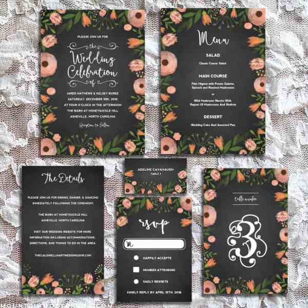Printable DIY Whimsical Floral Chalkboard Wedding Set