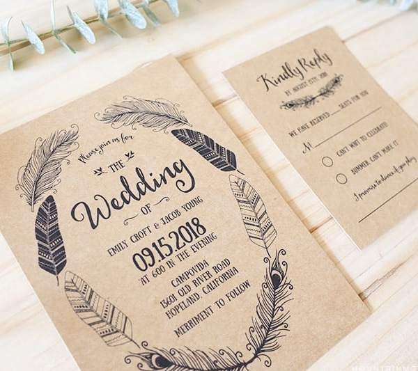 Printable Boho DIY Invitation Set - Invite + RSVP