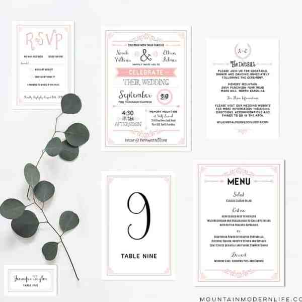 Printable Blush Pink Wedding Invitation Set | MountainModernLife.com