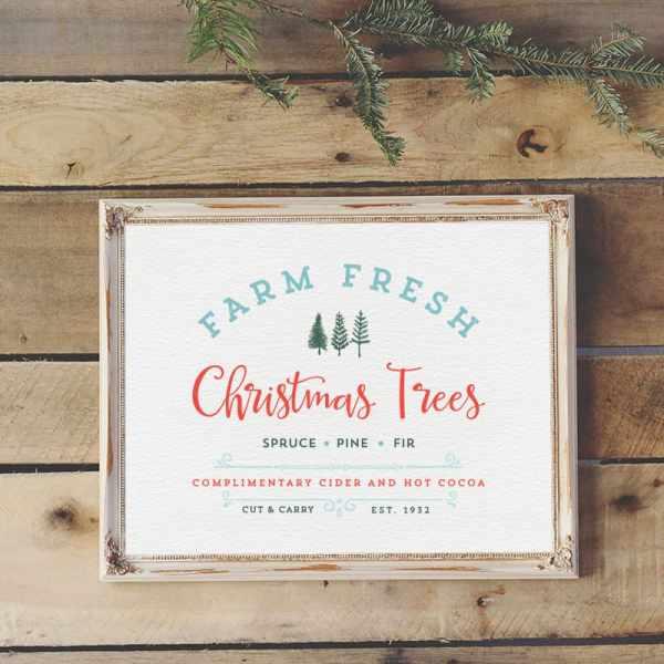 Vintage Farm Fresh Christmas Trees Printable