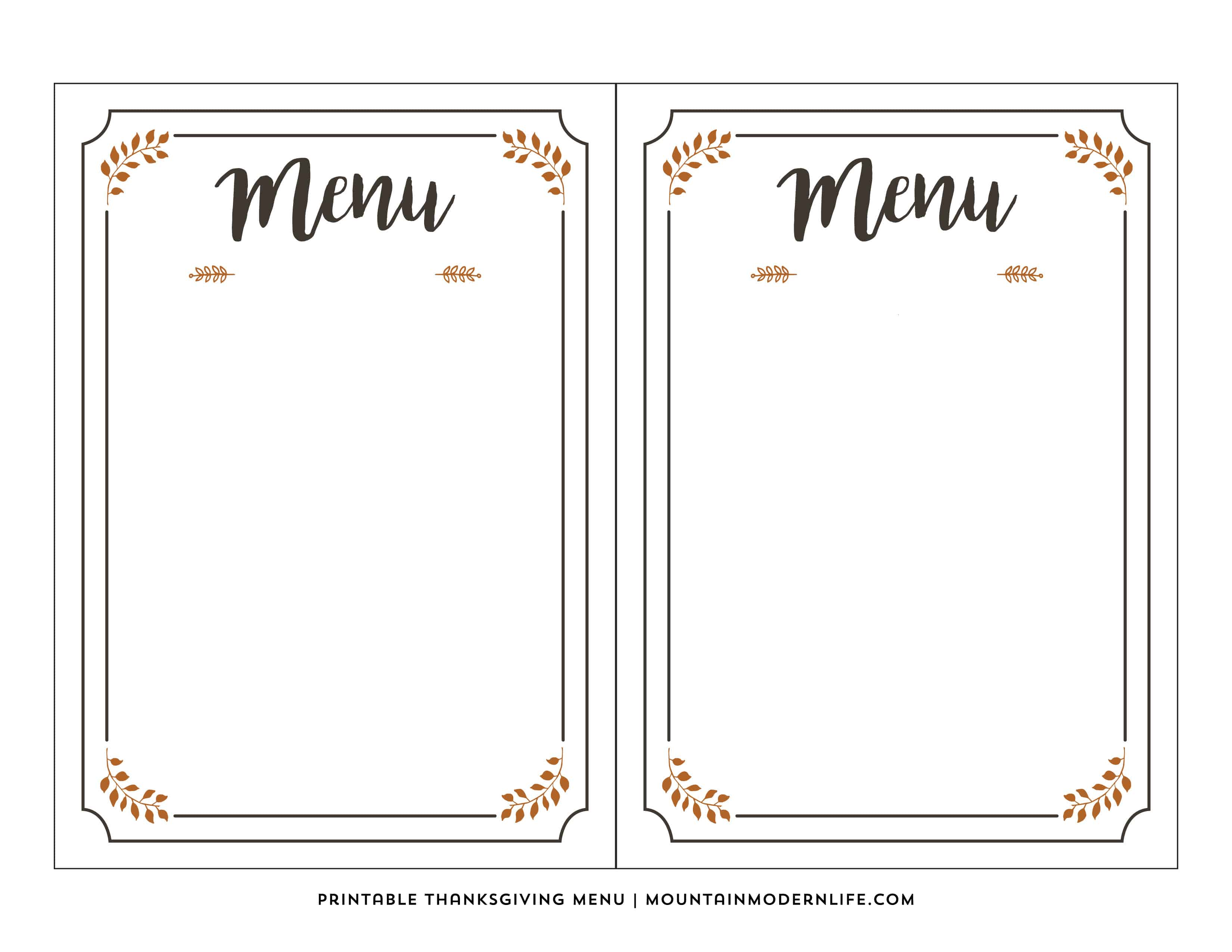 Free Printable Thanksgiving Menu