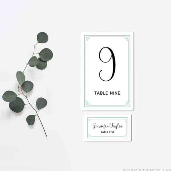 Printable Table Number and Place Card Templates | MountainModernLife.com