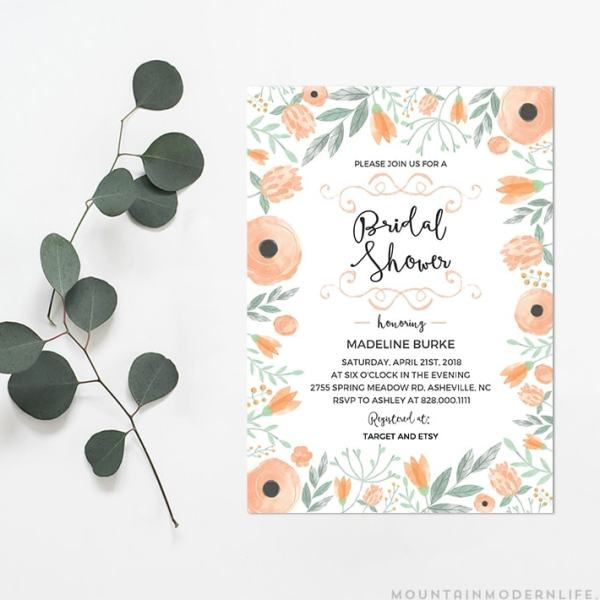 Printable DIY Bridal Shower Invitation   MountainModernLife.com