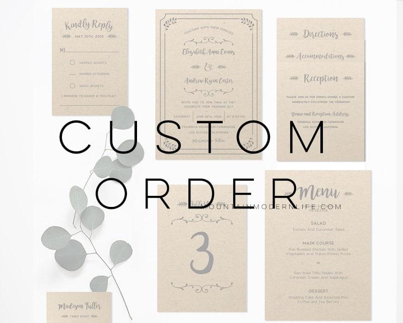 Custom Wedding Invitation Templates: Custom Whimsical Rustic Wedding Invitation Templates