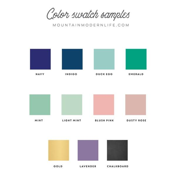 Printable Color swatches