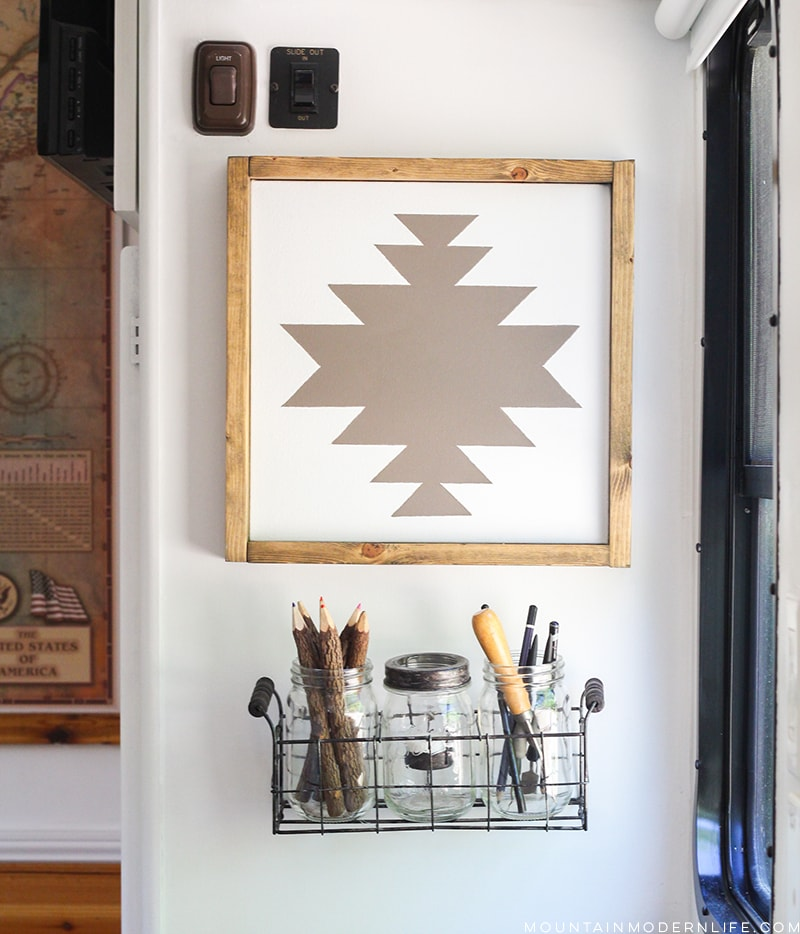 See how easy it is to make this Navajo-inspired wall art, the perfect way to add rustic or Southwest decor to your home or RV! MountainModernLife.com