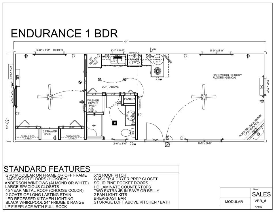 ENDURANCE 1 BDR FLOORPLAN   Modular Log Home
