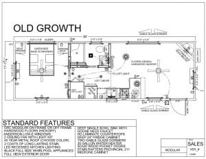 36' x 12' OLD GROWTH FLOORPLAN - Modular Log Cabin