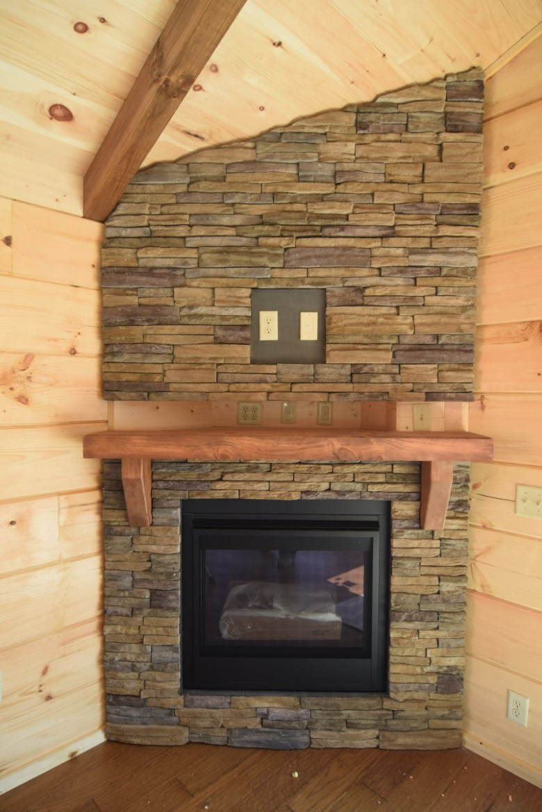 Full Stone Fireplace shown with Stained Mantle option