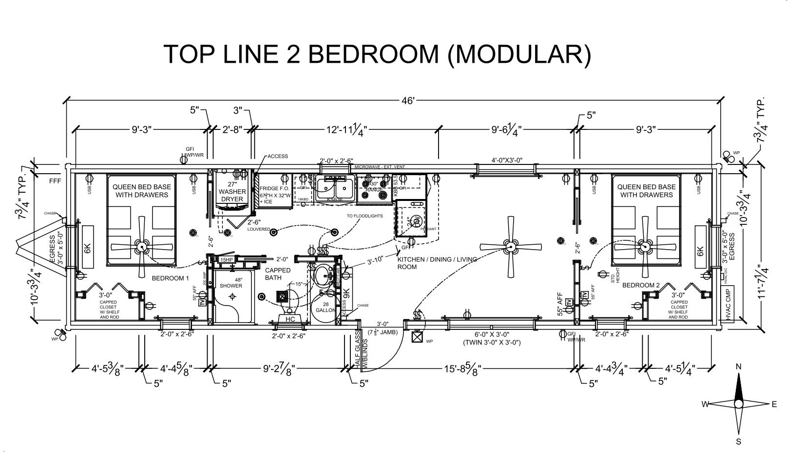 TOP-LINE 2BDR MODULAR CABIN