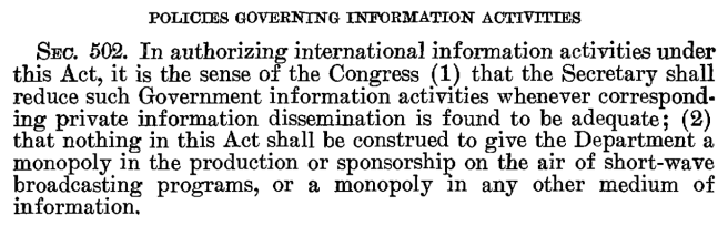 Text of Sec. 502 of PL 80-402 as signed into law by President Truman, January 27, 1948.