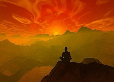 Meditator on Mountain