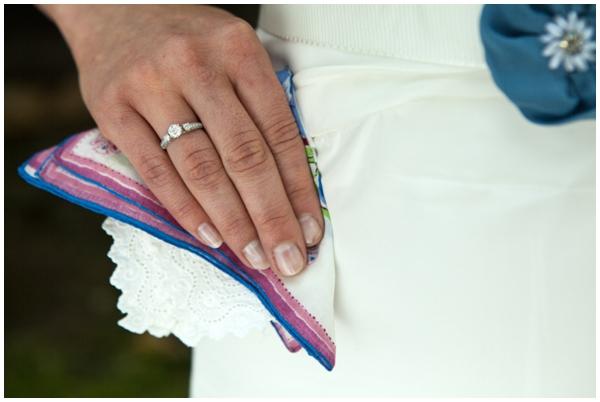 Vintage handkerchief and diamond engagement ring
