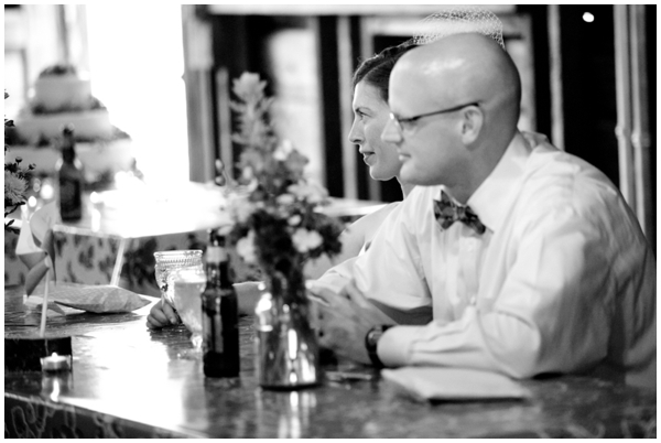 blacl and white of bride and groom at 4H camp reception