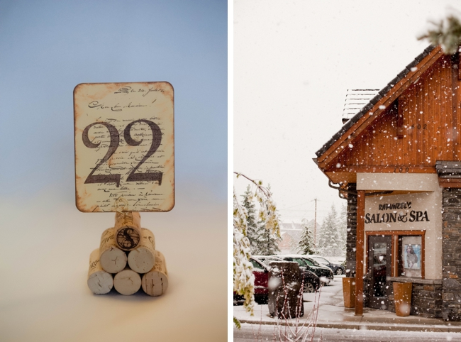 mountain snow at a June Wedding and wine cork table number