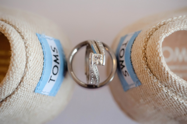 Toms wedge bridal shoes and wedding rings