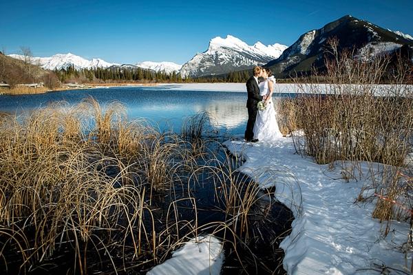 mountain wedding portrait near banff