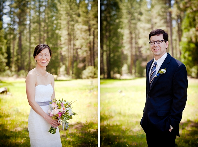 woodland bride and groom in Yosemite National Park