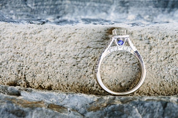 engagement ring with blue detail