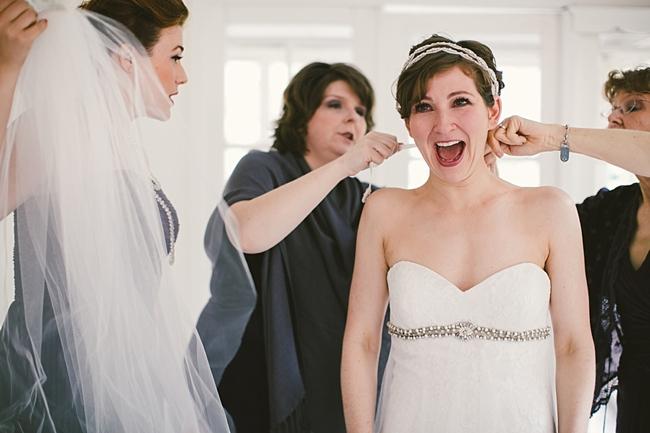 Happy NY mountain bride getting ready