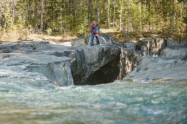 River at a British columbia mountain engagement shoot by Nordica Photography