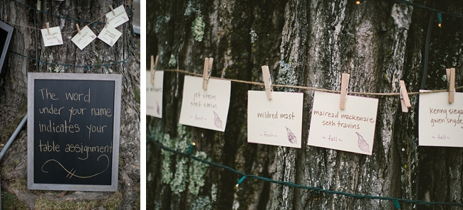 escort card around a tree