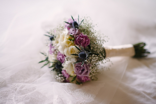 romantic pink, white, and green bouquet