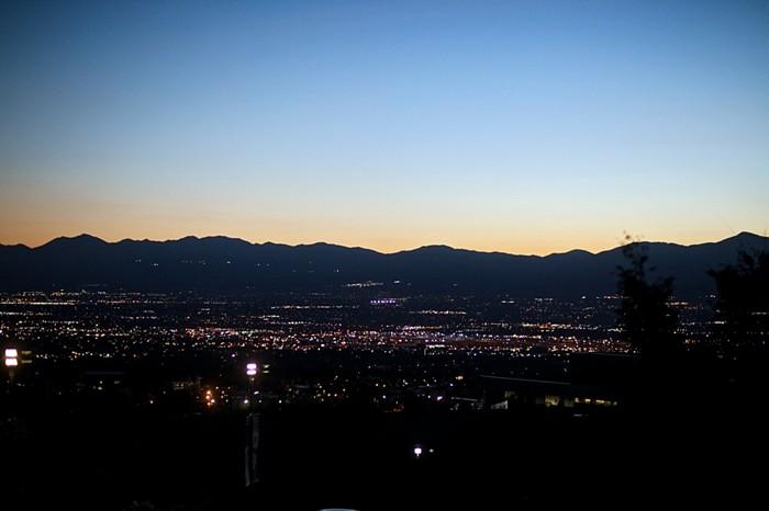 mountain skyline at night