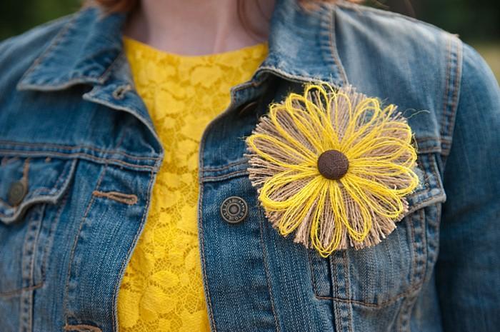 fabric flower sunflower boutonnieer   Colorado Wedding