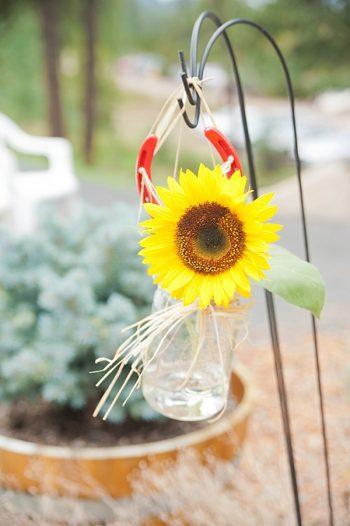 sunflower ceremony flowers   Colorado Wedding