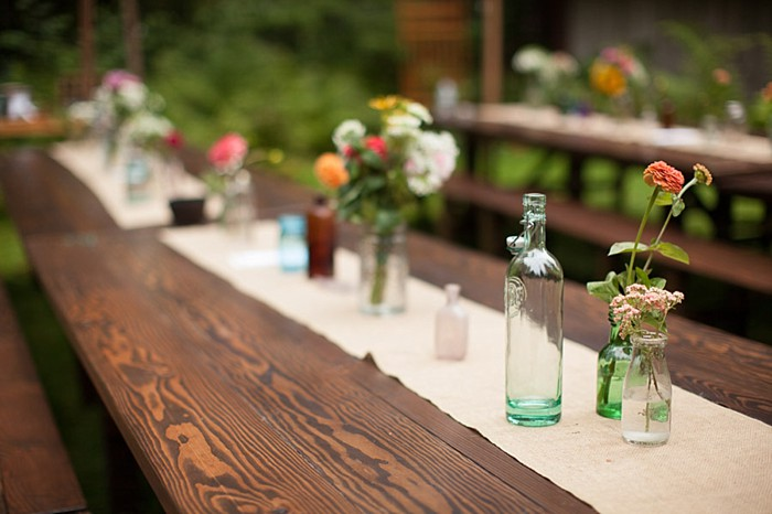 table runner and bud vase centerpiece