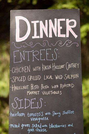 chalbboard dinner menu