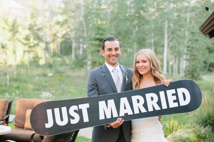 just married snowboard | Park City Luxury Home Wedding